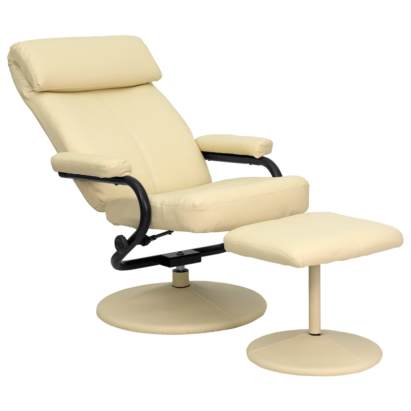 Contemporary Cream Leather Recliner And Ottoman With Leather Wrapped Base  [BT 7863 CREAM GG]
