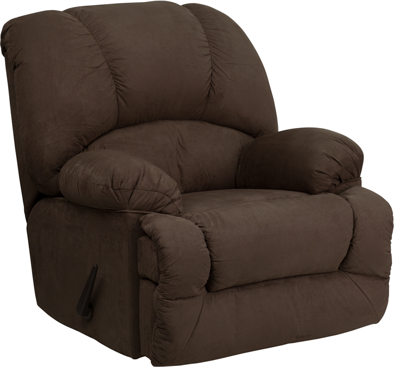 Contemporary glacier brown microfiber chaise rocker for Chaise and recliner