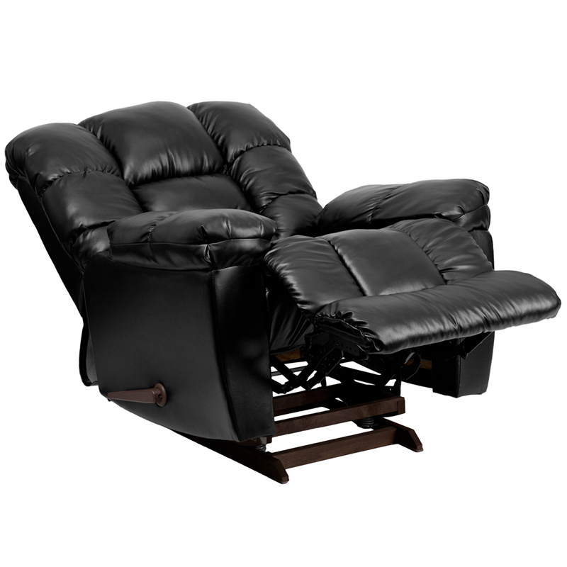 Contemporary new era black leather chaise rocker recliner am c9550 4801 gg - Contemporary recliner chairs ...