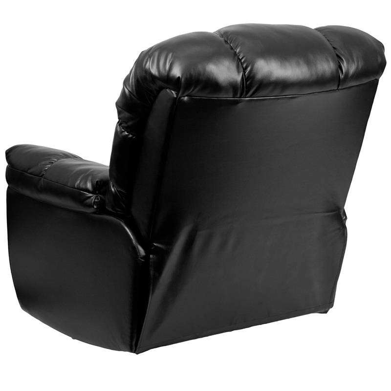 Contemporary new era black leather chaise rocker recliner for Black leather chaise
