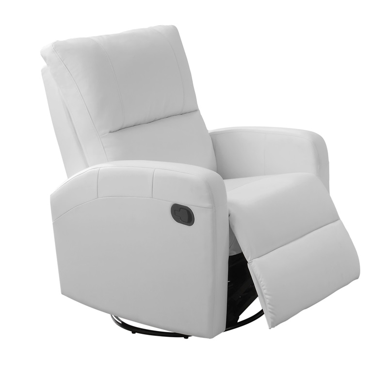Bonded Leather Swivel Glider Recliner With Waterfall Back   White  [I 8084WH FS MSP]