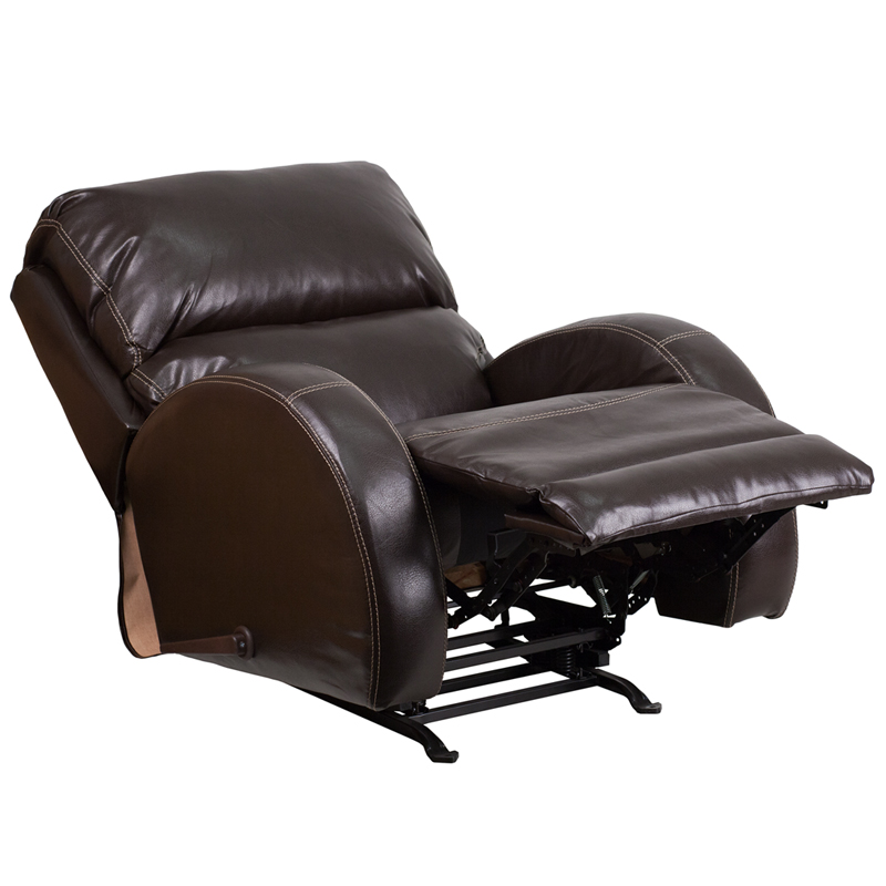 Contemporary Ty Brown Leather Rocker Recliner Wa 4990 620 Gg
