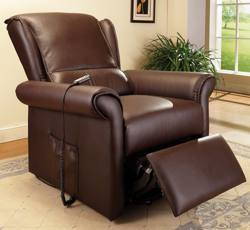 Emari Transitional Style Faux Leather Power Lift Recliner with Massage and Wired Control - Dark Brown [59169-FS-ACM] & Emari Transitional Style Faux Leather Power Lift Recliner with ... islam-shia.org