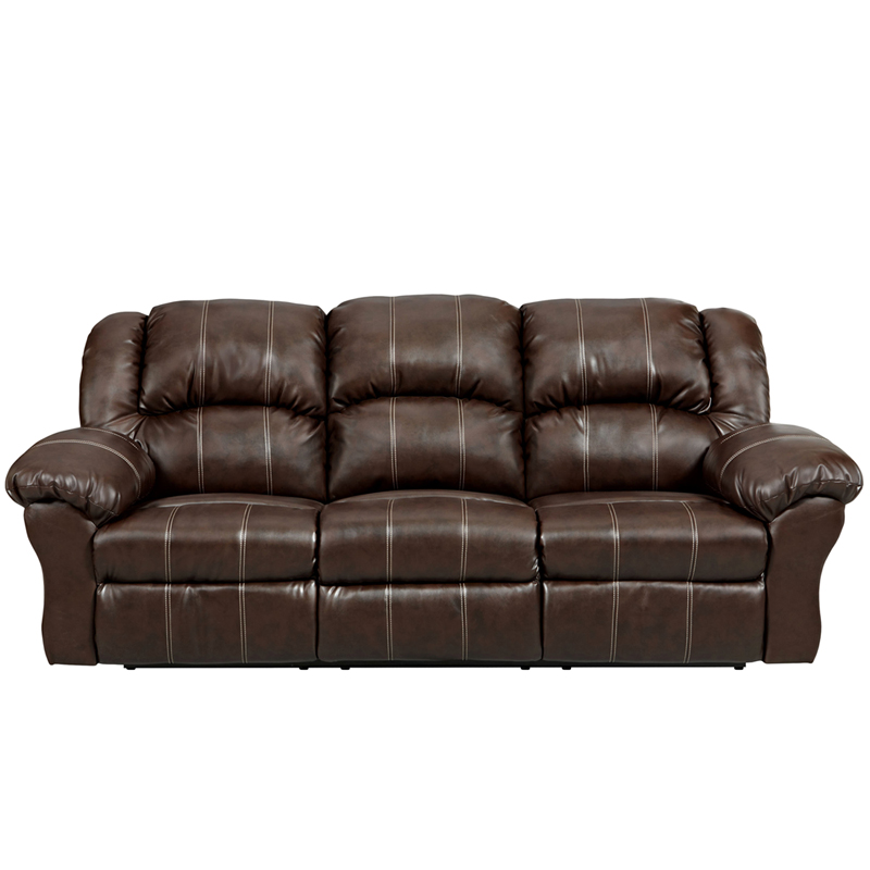 Exceptional designs brandon brown leather reclining sofa for Leather reclining sofa