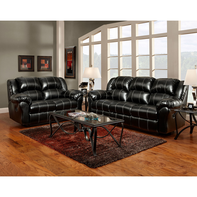 Exceptional designs reclining living room set in taos for Black leather living room set