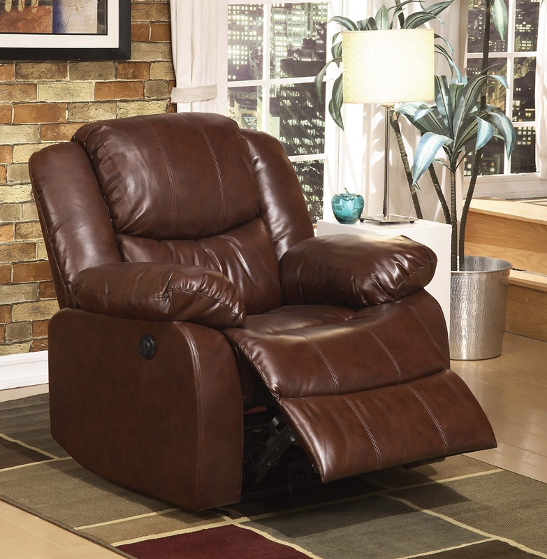 Fullerton Transitional Style Bonded Leather Motion Recliner With Push On Recline Brown 0a 50202 Fs Acm