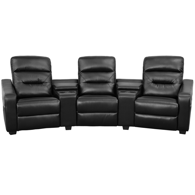 Futura Series 3-Seat Reclining Black Leather Theater Seating Unit ...