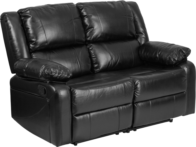 Harmony Series Black Leather Loveseat With Two Built In Recliners Bt 70597 Ls Gg