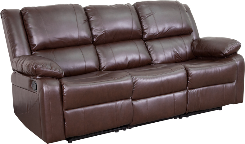 Ordinaire Harmony Series Brown Leather Sofa With Two Built In Recliners  [BT 70597 SOF BN GG]