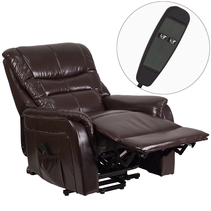 hercules series brown leather remote powered lift recliner ch us