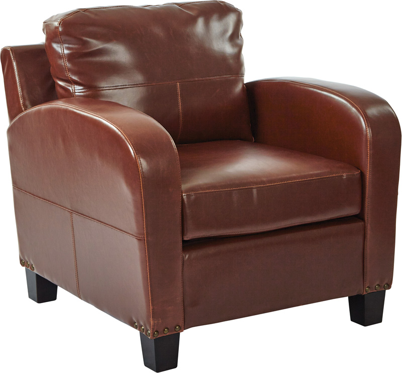 Inspired By Bassett Jacob Bonded Leather Club Chair With Antique Bronze  Nail Heads   Saddle [BP JCBCC BD41 FS OS]