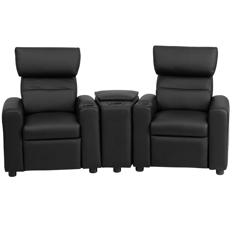 kidu0027s black leather reclining theater seating with storage console - Black Leather Recliner