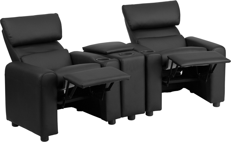 Kids Black Leather Reclining Theater Seating with Storage  : kid s black leather reclining theater seating with storage console bt 70592 bk lea gg 4 from www.reclinercity.com size 784 x 482 jpeg 97kB