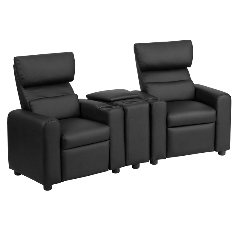 Kidu0027s Black Leather Reclining Theater Seating with Storage Console [BT-70592-BK-LEA-GG]  sc 1 st  Recliner City & Kidu0027s Black Leather Reclining Theater Seating with Storage Console ... islam-shia.org