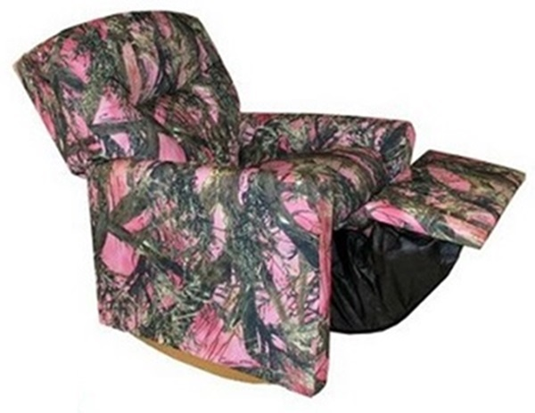 Kids True Timber Fabric Contemporary Rocker Recliner With Tufted Back   Camo  Pink [DZD11825 FS DD]