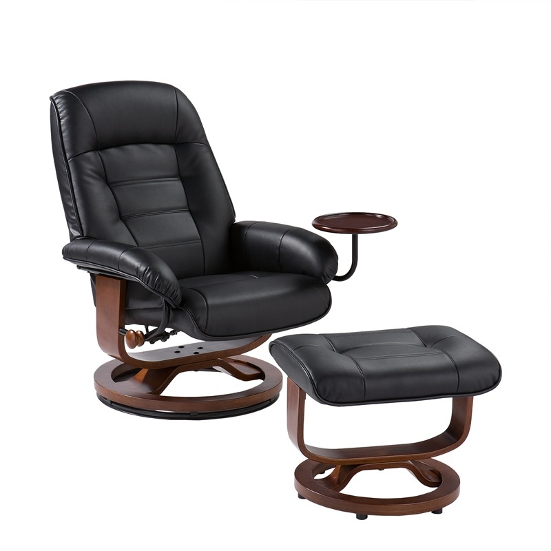 Bonded Leather Swivel Recliner with Attached Side Table and Ottoman - Black [UP1303RC-FS-SENT]  sc 1 st  Recliner City & Bonded Leather Swivel Recliner with Attached Side Table and ... islam-shia.org