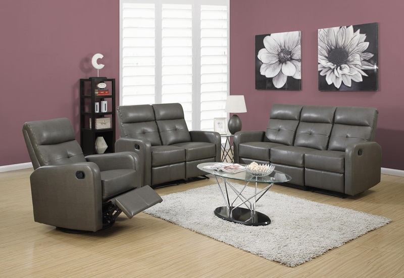 Ordinaire Modular 3 Piece Bonded Leather Reclining Sofa With Button Tuft Back    Charcoal Gray [I 85GY 3 FS MSP]