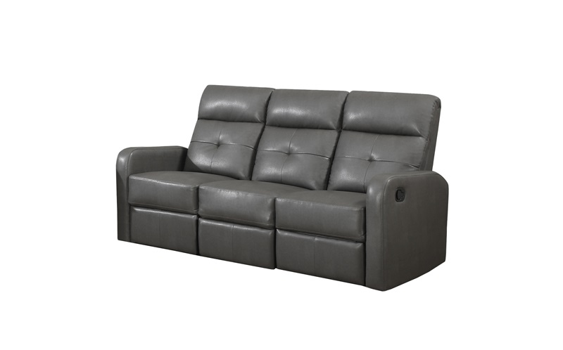 Modular 3 Piece Bonded Leather Reclining Sofa With Button Tuft Back    Charcoal Gray [I 85GY 3 FS MSP]