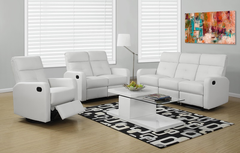 Modular 3 Piece Bonded Leather Reclining Sofa With Button Tuft Back   White  [I 85WH 3 FS MSP]