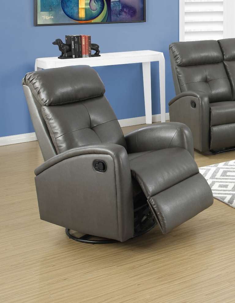 Bonded Leather Swivel Glider Recliner With Button Tuft Back   Charcoal Gray  [I 8088GY FS MSP]