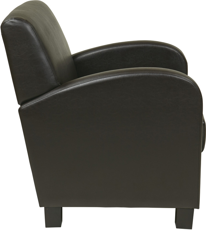 Osp Designs Eco Leather Metro Club Chair Espresso With Legs Met807res Fs Os