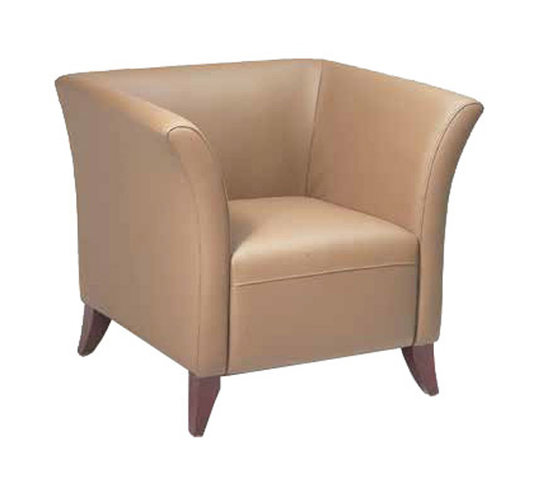 OSP Furniture Faux Leather Club Chair With Cherry Finish Legs   Taupe  [SL1571 U21 FS OS]