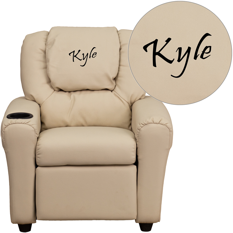 Superbe Personalized Beige Vinyl Kids Recliner With Cup Holder And Headrest [DG ULT  KID BGE EMB GG]