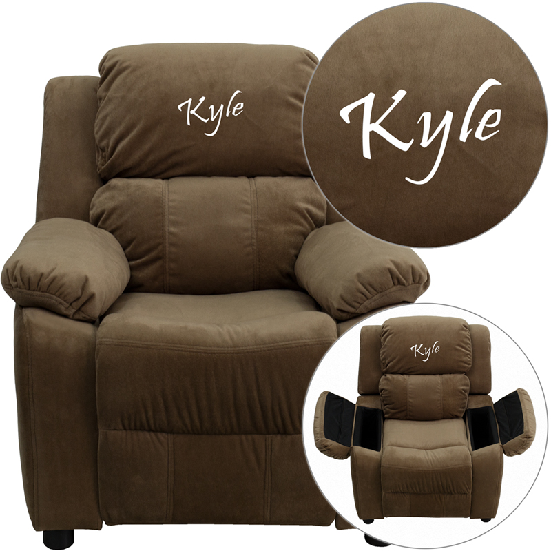 Personalized Deluxe Padded Brown Microfiber Kids Recliner With Storage Arms Bt 7985 Kid Mic Brn Emb Gg