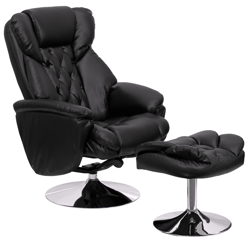 Transitional Black Leather Recliner And Ottoman With Chrome Base  [BT 7807 TRAD GG]