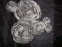 1 black & white Chiffon Rose with Tulle, Variety of colors, 8 � L