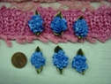 1 Dozen  blue cabbage carnation satin ribbon flower applique