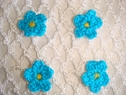 1  Dozen blue crochet flower applique 3/4 diameter