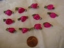 1 Dozen fuchsia flower w/ green leaf  Satin ribbon Rosette applique 3/4 wide