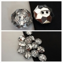 1 dozen octagon shape clear rhinestone 2 hole shirt button 12mm