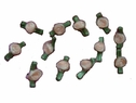 1 Dozen peach flower w/ green leaf applique 15/16 inch x 7/16 inch