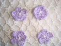 1 Dozen pieces lilac  white 2 tonescrochet flower applique 3/4 diameter