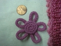 1 Dozen pink cotton cord snake rose flower applique 2 w