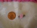 1 Dozen pink flower w/ green leaf applique 5/8  wide