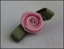 1 Dozen pink flower w/ green leaf rosette applique 3/4 wide