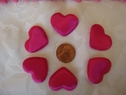 1 Dozen puffed pink heart two sided applique 1 wide