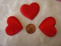 1 Dozen puffed red heart two sided applique 1 1/2 wide