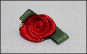 1 Dozen Red Flower w/ Green Leaf Rossette Applique 5/8 wide