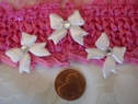 1 Dozen white puffed bow two sided applique w/ clear rhinestone