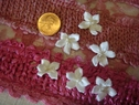 1 Dozen white satin daisy flower with pearl bead applique 3/4 inch wide