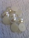 1 lot of 12 circular ivory flat back  pearls for craft 18 mm