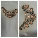 creme tulle antique silver and light brown rhinestone beaded applique A 2