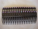 1 pair iridescent rhinestones comb hair pin