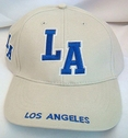1 Pc Adjustable 100% Cotton Beige w/ Blue Los Angeles Hat