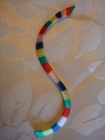 multicolored S shaped iron on applique 4 inch  long