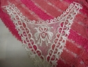 1 pc off white embroidered silky neckline applique D6